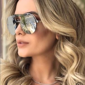 Prada 60 mm Mirror silver rimless sunglasses